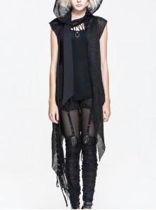 Black Punk Asymmetrical Hole Wool Knit Hooded Shawl