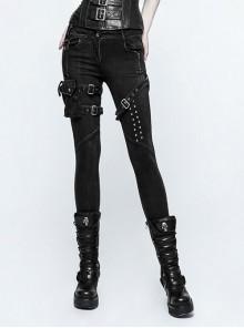 Steam Punk Female Black Elastic Bind Skinny Jeans