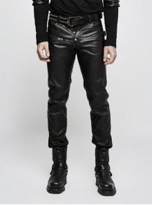 Steam Punk PU Leather Man Pants With Zipper