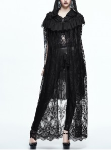 Black Gothic Patterned Lace Flounce Hooded Long Shawl