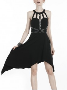 Black Off-Shoulder Metallic Leather Bandage Asymmetrical Hem Punk Dress