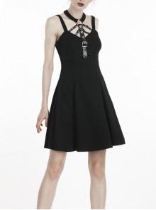 Black Metal Leather Bandage Halter Punk Dress