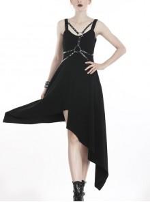 Black Rivet Studded Bandage Asymmetrical Hem Sling Punk Dress