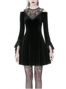 Black Chest Hollow Embroidery Off-Shoulder Long Sleeves Gothic Dress