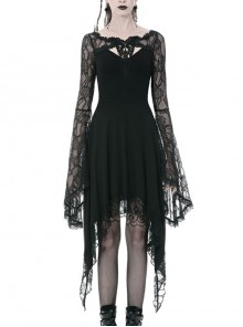 Black Chest Hollow Flower Lace Long Sleeves Side Long Hem Gothic Dress