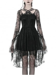 Black Lace-Up Chest Embroidery Lace Long Sleeves High Waisted Gothic Dress