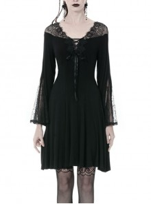 Black Lace-Up Sexy Lace Shoulder Long Sleeves Prom Gothic Dress