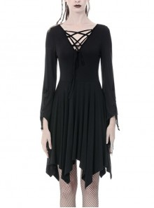 Black Chest Lace-Up Long Sleeves Tight Midi Gothic Dress