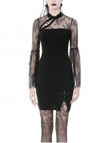 Black Chest Sexy Hollow Side Lace Slit Hem Tight Prom Gothic Dress