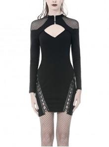 Black Chest Hollow Mesh Shoulder Slit Lace-Up Hem Tight Punk Dress