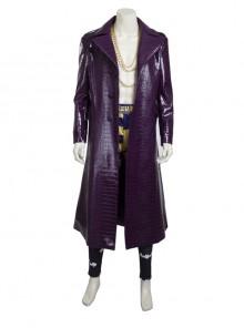 Suicide Squad The Joker Halloween Cosplay Costume Purple Leather Coat Full Set