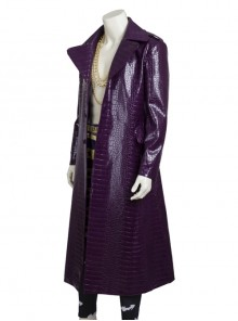 Suicide Squad The Joker Halloween Cosplay Costume Purple Leather Coat