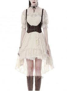 Beige Off-Shoulder Lace Short Sleeves High Waisted Long Back Hem Punk Dress