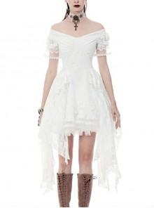 White Off-Shoulder Lace Short Sleeves Side Long Hems Wedding Punk Dress