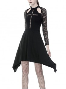 Hollow Cross Lace Long Sleeves Side Long Hems Black Gothic Dress