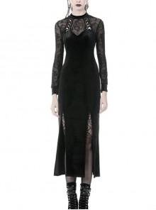 Lace Embroidery Long Sleeves Slit Hem Long Black Velvet Gothic Dress