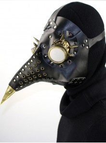 Steampunk Gothic Golden Beak Black PU Leather Wings Bird Mask