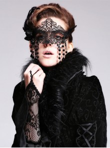 Steampunk Gothic Black Lace Sexy Queen Mask