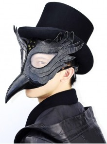 Steampunk Gothic Black PU Leather Wings Bird Mask