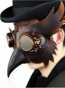Steampunk Gothic Brown PU Leather Wings Bird Mask
