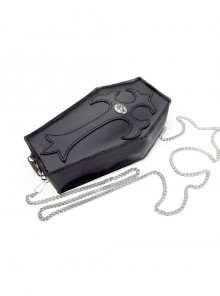 Punk Gothic Rivet Black Leather Coffin Purse