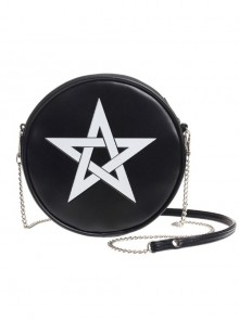 Punk Gothic White Pentagram Black Shoulder Bag Inclined Shoulder Bag
