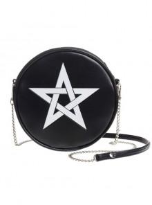 Punk Gothic White Pentagram Black Shoulder Bag Inclined Shoulder Bag