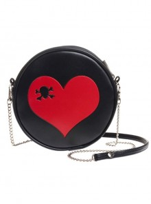 Punk Gothic Red Heart Black Shoulder Bag Inclined Shoulder Bag