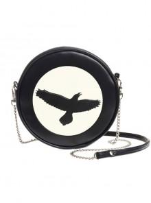 Punk Gothic Black Hawk Pattern Black Shoulder Bag Inclined Shoulder Bag