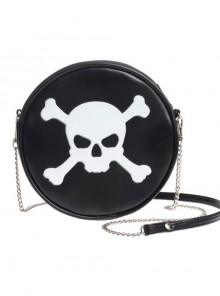 Punk Gothic White Skull Pattern Black Shoulder Bag Inclined Shoulder Bag