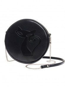 Punk Gothic Black Cat Pattern Black Shoulder Bag Inclined Shoulder Bag