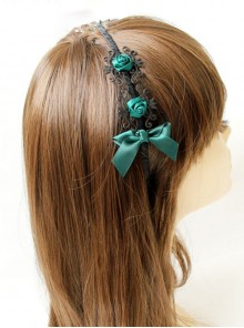 Gothic Black And Green Bowknot Headdress