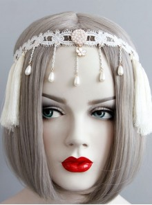 Retro Elegant Pearls White Tassel Headress