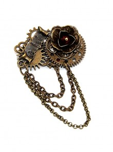 Steampunk Rose Vows Contract Reel Gear Chain Retro Brooch