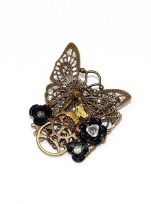 Steampunk Mechanical Butterfly Gear Black Rose Retro Brooch