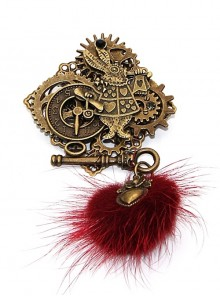 Steampunk Alice Pom Pom Rabbit Gear Keys Clock Retro Brooch