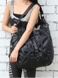 Steampunk Rivet Rock Style Black Big Single-shoulder Bag