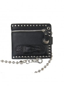 Steampunk Crocodile Head Zipper Hanging Chain Rock Style PU Wallet