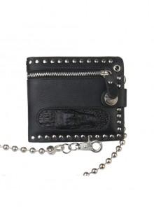 Steampunk Crocodile Head Zipper Hanging Chain Rock Style PU Wallet