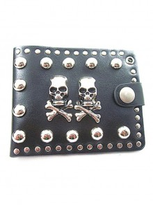 Steampunk Retro Skulls Rivet Rock Style Black PU Wallet