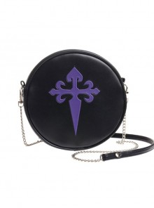 Gothic Punk Retro Purple Cross Black Single-shoulder Bag