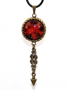 Steampunk Retro Gothic Magic Series Flame Magic Array Inverse Five Awn Small Pendulum Necklace
