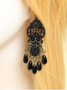 Gothic Retro Black Elegant Pearl Earrings