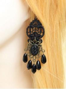 Gothic Retro Black Elegant Pearl Earrings