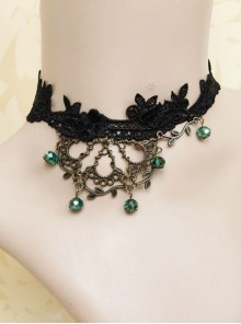 Gothic Bronze Twigs Black Lace Necklace