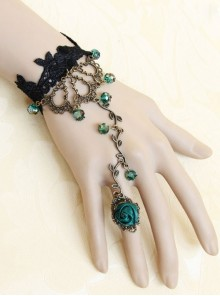 Gothic Black Lace Green Bead Bracelet Ring Jewelry