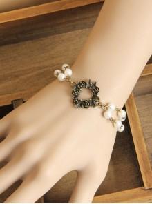 Gothic Retro Bronze Rose Pearl Bracelet