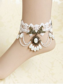 Gothic Retro Elegant White Lace Wedding Ankle Bracelet