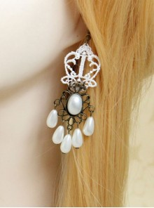 Gothic Retro White Elegant Pearl Earrings