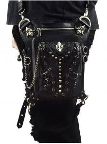 Steampunk Black Multi-function Outdoors Rivet Sliver Chain Men's Inclined Shoulder Bag